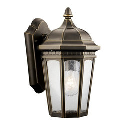 KICHLER - KICHLER Courtyard Traditional Outdoor Wall Sconce X-ZR2309 - This Kichler Lighting outdoor wall sconce features a traditional take on the classic lantern shape. A tapered base and traditional lines are complimented by a Rubbed Bronze finish while the clear seedy glass panels add a subtle modern finishing touch. U.L. listed for wet locations.