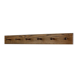 "PegandRail - Solid Oak Shaker Peg Rack 4.5"" Extra Wide - Hand Crafted in the USA, Walnut, 35"" - Made in The USA"
