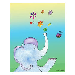 Oh How Cute Kids by Serena Bowman - Elephant with Flowers, Ready To Hang Canvas Kid's Wall Decor, 8 X 10 - Each kid is unique in his/her own way, so why shouldn't their wall decor be as well! With our extensive selection of canvas wall art for kids, from princesses to spaceships, from cowboys to traveling girls, we'll help you find that perfect piece for your special one.  Or you can fill the entire room with our imaginative art; every canvas is part of a coordinated series, an easy way to provide a complete and unified look for any room.