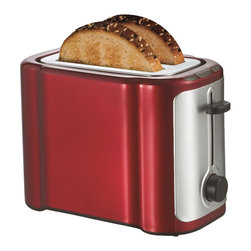 Brentwood - Brentwood TS-290R 2 Slice Stainless Steel Toaster- Red & Stainless - Brentwood TS-290R 2 Slice Stainless Steel Toaster- Red & Stainless