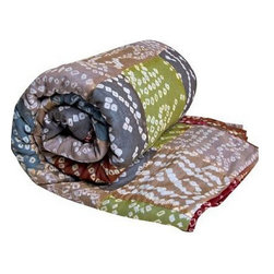 """Koko Hand Tie Dyed Throws 60"""" x 60"""" Earth - Throws Hand Tie-Dyed in India. 100% Cotton hand quilted tie-dye patchwork."""