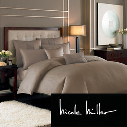 Nicole Miller - Nicole Miller Currents Driftwood Duvet Cover (Shams Sold Separately) - This duvet cover features a tone on tone wave pattern that gives shape and dimension. Also available and sold separately are the standard sham and European sham.