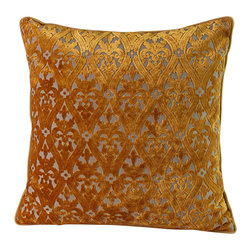 14 Karat Home - Monaco Pillow - Oh, so rich and elegant.  This vibrant gold burn out design takes us back to years gone by. The upholstery weight fabric adds a richness that will appeal to a classic or traditional home.  The gold chenille backing with a self binding around the pillow creates a perfect designer pillow.