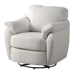 Monarch Specialties - Monarch Specialties 8062 Leather-Look Swivel Accent Chair in White - Whether standing alone or used to accent a full living room ensemble, this chair will bring optimal comfort and exceptional style to your home. Designed with an overstuffed padded back, seat and arms that creates for a unique lounge chair shape, this accent chair has a sleek yet gentle contemporary style that will stand out in any room. Raised on polished chrome plated swivel base and draped in a bright white leather-look upholstery, this chair's chic modern vibe is only further emphasized. Gentle to the eye and to the touch, this chair is stuffed with a generous amount of foam for soft support you will be just dying to sink into.