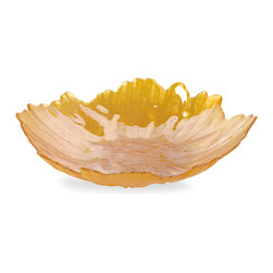 Yellow Bloom Glass Bowl - This beautiful yellow Bloom glass bowl is a sunny accent piece for any transitional, or contemporary room.