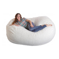 None - 6-foot Soft White Fur Large Oval Microfiber Memory Foam Bean Bag Chair - Add comfortable seating to any basement,movie room or bedroom with this large oval beanbag chair. This versatile foam filled chair is finished with a soft white fur cover and can comfortably seat up to three people.