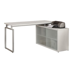 """Monarch Specialties - Monarch Specialties 7036 L Shaped Desk with Frosted Glass in White - This simple yet practical """"hollow-core"""" desk is the perfect addition to your home office. The white finished desk can conveniently be placed on the left or right side offering you multi functionality. The underside provides you with space to store office supplies, papers, books, files folders, and plenty more behind beautiful frosted glass doors.. Use the spacious top for your computer, a lamp and even some pictures. This large work station with fit in perfectly into any space."""
