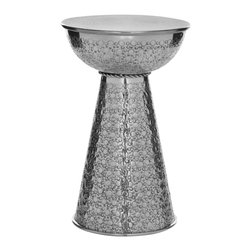 Safavieh - Etta Textured Aluminum Stool - Subtlety is a lost art, but the soft pattern that adorns the silver polished aluminum surface of the Etta textured aluminum stool reflects the versatility of this exotic modern piece. It looks stunning piled with bound leather volumes, but just as chic standing solo waiting for a wine glass.