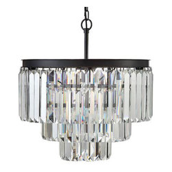 Modern Iron and Crystal Chandelier - Do you find yourself torn between rustic practicality and glamorous embellishment? This chandelier combines the best of both styles, with a sturdy wrought iron frame supporting three dangling tiers of large crystals. The modern cylindrical shape keeps it unfussy, yet it remains handsomely contemporary.