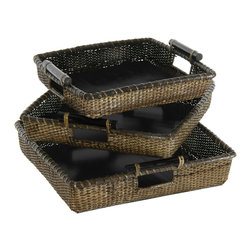 Oriental Furniture - Rattan Square Tote with Pole Handles ( Set of 3 ) - This collection of three conveniently sized, top quality natural fiber baskets was crafted from tightly woven Asian split rattan. The warm, rustic antique stain is perfect for adding an earthy, tropical accent to your home or business.