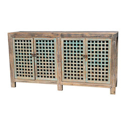Mortise & Tenon - Vintage Solid Wood Buffet With Latice Doors - 4 Doors with Lattice Detail