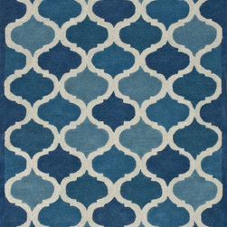 "Loloi Rugs - Loloi Rugs Brighton Collection - Cobalt Blue, 7'-10"" x 11'-0"" - There are geometric rugs and then there is the striking Brighton Collection, which sets a new standard for geometric style. Hand-tufted in India, 100% wool yarns are hand-dipped into rich dye lots, producing lively colors that pair fabulously with its playful patterns. Brighton also combines a cut and loop pile, creating a mix of heights and textures for added visual interest. Available in 12 playful designs."