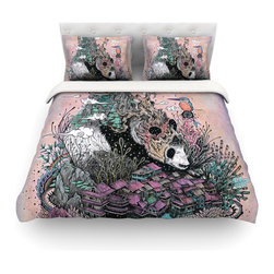 """Kess InHouse - Mat Miller """"Land of The Sleeping Giant"""" Panda Cotton Duvet Cover (Queen, 88"""" x 8 - Rest in comfort among this artistically inclined cotton blend duvet cover. This duvet cover is as light as a feather! You will be sure to be the envy of all of your guests with this aesthetically pleasing duvet. We highly recommend washing this as many times as you like as this material will not fade or lose comfort. Cotton blended, this duvet cover is not only beautiful and artistic but can be used year round with a duvet insert! Add our cotton shams to make your bed complete and looking stylish and artistic! Pillowcases not included."""
