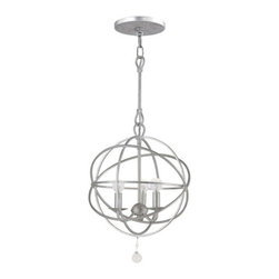 Crystorama - Crystorama 9225-OS Solaris 3 Light Mini Chandeliers in Olde Silver - The SOLARIS collection features cleaner lines and sleeker finishes and uses just one oversized glass jewel as an accent. The painted metals are English Bronze, Olde Silver and a lacquer-like Wet White finish. Homeowners of every generation are gravitating to the richness and elegance of the SOLARIS.