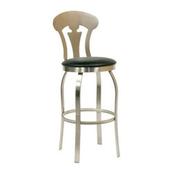 "Trica - Trica's Vintage Swivel Bar Stool, 26"" Seat Height - Vintage combines Victorian elegance with a modern brushed steel finish."