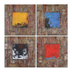 Primary Blocks Wall Art S/4 - *This Colorful Artwork Has Been Hand Painted On Reclaimed Wood