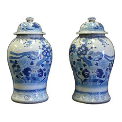Golden Lotus - Pair Chinese Blue White Porcelain Large Ginger Jar - This is a decorative piece and collected from different places, the color and details varies from one to one. The bottom mark is different. But overall the design is almost the same.