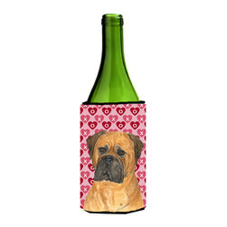 Caroline's Treasures - Bullmastiff Hearts Love and Valentine's Day Portrait Wine Bottle Koozie Hugger - Bullmastiff Hearts Love and Valentine's Day Portrait Wine Bottle Koozie Hugger Fits 750 ml. wine or other beverage bottles. Fits 24 oz. cans or pint bottles. Great collapsible koozie for large cans of beer, Energy Drinks or large Iced Tea beverages. Great to keep track of your beverage and add a bit of flair to a gathering. Wash the hugger in your washing machine. Design will not come off.