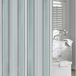 None - Emily Cotton Stripe Shower Curtain - The contemporary fine linen Emily shower curtain will add a modern style to any bathroom decor. Made from 100-percent cotton, this beautiful curtain features a striped pattern in a blue and grey finish. Machine washable for easy care and repeated use.