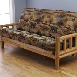 None - Aspen Lodge Natural Futon Frame and Full-size Mattress Set - This Aspen Lodge full-size futon sofa set easily converts to a full-size bed. The futon mattress is covered in a rustic upholstery, and the natural hardwood log frame fits easily into most rooms.