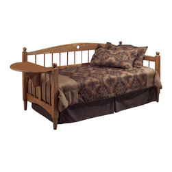 Hillsdale - Hillsdale Dalton Wood Daybed in Medium Oak Finish with Suspension Deck - Hillsdale - Daybeds - 1393DBLH - The Hillsdale Dalton Daybed has solid wood construction in a warm medium oak finish. It features a gently arched backrest squared posts topped with a traditional round finial diamond cut out motifs and spindled back and side panels. This unique daybed has the added function of a drop-leaf side table. This twin size daybed includes a mattress supporting suspension deck for your convenience. Extend its versatility by using it as a sofa in the home office or combining it with the optional roll-out trundle in the guest room for even more sleeping space. The concealed space saving optional roll-out trundle includes six casters for easy setup and supports a standard twin size mattress. With the convenient of the side table and the elegant mission style the Dalton Daybed has a lasting appeal you will enjoy for many years.