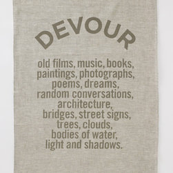 Devour Tea Towel - Pretty statement tea towels with fun phrasing should be used to dry the dishes or framed as artwork.
