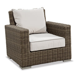 Thos. Baker - Wicker Outdoor Club Chair w/Cushions | Hampton Java Collection - Oversized seating in all-weather wicker with a slightly weathered look inspired by classic whitewashed country home styles. Premium, dyed-through resin wicker with an extra large diameter profile and elegant ocean gray finish. Powder-coated aluminum subframe and brushed aluminum feet.Plush Sunbrella cushion sets included where applicable. Choose quick ship in khaki with cocoa piping, stone green or choose from our made-to-order fabric options.Made-to-order cushion sales are final and ship in 2-3 weeks.