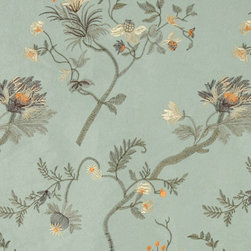 Green Brown Ivory Orange Embroidered Leaves Suede Upholstery Fabric By The Yard - P1821 is a heavy duty upholstery grade suede polyester fabric. This fabric is great for all indoor applications.