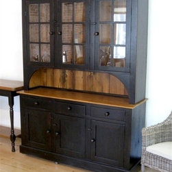 6 Door 3 Drawer Black Hutch - Made by http://www.ecustomfinishes.com