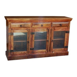 YOSEMITE HOME DECOR - Storage/Display Cabinet - A striking three door display/storage cabinet, perfect for any room. Made of solid mango wood this cabinet features three glass panel doors w/solid wood shelves for storage or display. Three top drawers add even more space to keep life's special treasures.  a stone natural finish is accented with distressed metal hardware. Assembled and made in India.  Item Dimension in 60inches Width X 16inches Depth X 36inches Height