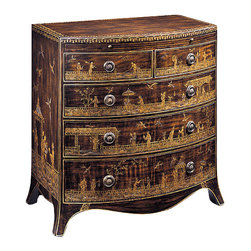 "Inviting Home - Hand-Painted Chest with Pull-out Shelf - Hand-painted five drawer chest with Chinoiserie scenes pull-out writing shelf and antiqued brass hardware 28""W x 18""D x 30""H Hand-crafted five drawer oriental chest. Oriental chest is hand-painted with original Chinoserie scenes. This chest has pull-out writing shelf and antiqued brass hardware."