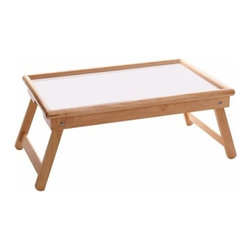 Winsome Trading, INC. - Winsome Wood 98721 Breakfast Bed Tray Table - Winsome Woods Lap tray with adjustable work/serving surface is made with a solid wood frame in natural finish and a white melamine top. Use it to serve a meal in bed, on the sofa or outside on the deck. Adjust the tray surface to hold books, magazines or papers at a convenient level for reading. The legs fold into the bottom of the tray top for easy storage when not in use.