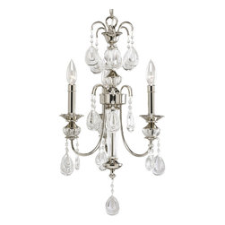 Progress Lighting - Progress Lighting P4208-104 3-Light Chandelier with Clear Crystal Glass Drops - Progress Lighting P4208-104 3-Light Chandelier with Clear Crystal Glass Drops with Teardrop Element