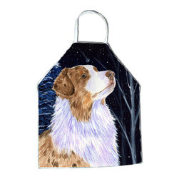 Caroline's Treasures - Starry Night Australian Shepherd Apron SS8375APRON - Apron, Bib Style, 27 in H x 31 in W; 100 percent  Ultra Spun Poly, White, braided nylon tie straps, sewn cloth neckband. These bib style aprons are not just for cooking - they are also great for cleaning, gardening, art projects, and other activities, too!