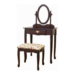 """Coaster - 2-Piece Vanity Set (Cherry) By Coaster - Queen Anne Style Cherry Finish Wood Vanity Table Stool/Bench and Mirror Set. This is a brand new Queen Anne Style Cherry Finish Wood Vanity Table, Stool/Bench and Mirror Set. Beautify your bedroom and furniture setting with this vanity mirror set that adds elegance to your decor. Item is designed to perfection and crafted to be practical and stylish in decor for your home furniture. Item may require simple assembly. Dimensions Measure: Vanity - 28""""W x 16""""D x 51""""H, Stool/Bench - 18""""W x 14""""D x 17""""H"""