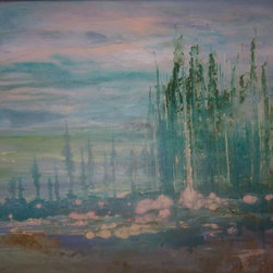 "Sheri A Wilson - Original Acrylic Landscape Canvas Abstract Expressionist Art 16x20x1"" - A Dreamy Illusionary Day"