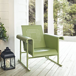 Crosley Furniture - Veranda Single Glider Chair in Oasis Green - Sturdy Steel Construction. Easy To Assemble. UV Resistant. Smooth glide rocking mechanism. Indoor/Outdoor Construction. . 31 in. W x 33 in. D x 33 in. H (66 lbs.)