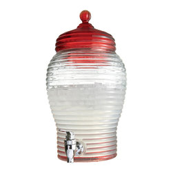 Jay Import Co - Red Beverage Dispenser - Nothing beats the old-fashioned charm of beehive-shaped glass. At your next get-together, serve guests from this delightful dispenser, complete with its own spigot.