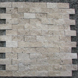 1 in. x 2 in. Classic Beige Tumbled Split Face Bricks Pattern Mesh-Mounted Trave - 1 in. x 2 in. Classic Beige Mesh-Mounted Split Face Bricks Pattern Travertine Mosaic Tile is a great way to enhance your decor with a traditional aesthetic touch. This Tumbled Mosaic Tile is constructed from durable, impervious Travertine material, comes in a smooth, unglazed finish and is suitable for installation on floors, walls and countertops in commercial and residential spaces such as bathrooms and kitchens.