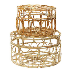 Lazy Susan - Round Washed Natural Oval Ring Box, Set Of 2 - Natural Wicker Is Tranformed When Hand Formed Into Updated Shapes To Create These Light And Airy Boxes. The Finish Is Natural With Hints Of White Hand Applied And Each Form Is Lined Together Using The Same Material.