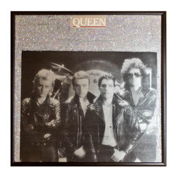 "Glittered Queen The Game Album - Glittered record album. Album is framed in a black 12x12"" square frame with front and back cover and clips holding the record in place on the back. Album covers are original vintage covers."