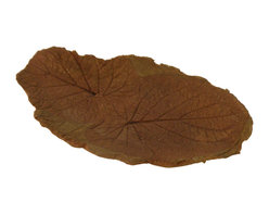 Hand Sculpted Concrete Root Beer  Leaf Tray Or Platter - This concrete platter has two root beer leaf impressions imbedded into it.  All serving pieces have a food safe sealer on them and they are also dishwasher safe! The piece has been stained with an acid stain then neutralized and sealed.  The stain bonds with the concrete so it will not fade in the sunlight. It can be used indoors or out. use it as a serving piece for cheese and cracker,  chips, etc. or let the birds enjoy it outside as a table top bird feeder!
