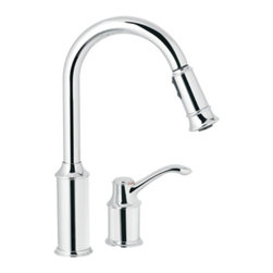 Moen - Moen Aberdeen One Handle High Arc Pulldown Kitchen Faucet, Chrome (7590C) - Moen 7590C Aberdeen One Handle High Arc Pulldown Kitchen Faucet, Chrome