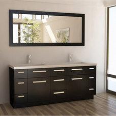 Bathroom Vanities And Sink Consoles Design Element Moscony Espresso 72-inch Double Sink Vanity Set