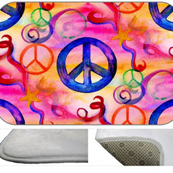 Peace Collage Plush Bath Mat, 20X15 - Bath mats from my original art and designs. Super soft plush fabric with a non skid backing. Eco friendly water base dyes that will not fade or alter the texture of the fabric. Washable 100 % polyester and mold resistant. Great for the bath room or anywhere in the home. At 1/2 inch thick our mats are softer and more plush than the typical comfort mats.Your toes will love you.