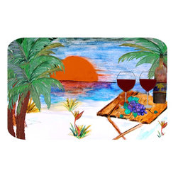"""usa - Beach Sunset Wine Bath Mat,  20"""" X 15"""" - Bath mats from my original art and designs. Super soft plush fabric with a non skid backing. Eco friendly water base dyes that will not fade or alter the texture of the fabric. Washable 100 % polyester and mold resistant. Great for the bath room or anywhere in the home. At 1/2 inch thick our mats are softer and more plush than the typical comfort mats. Your toes will love you."""