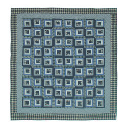 Patch Quilts - Blue Log Cabin Quilt  Luxury King 120 x 106 Inch - Intricate patchwork and beautiful hand quilting  - Bedding ensemble from Patch Magic Patch Quilts - QLKBLC