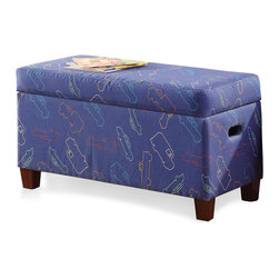 Kinfine - Juvenile Blue Cars Storage Bench - Create space and brighten your child's room with this adorable blue cars storage bench. With a safety hinged lid to prevent smashed fingers and a fun pattern, this storage bench is as decorative as it is functional. Matching headboard and chair available.