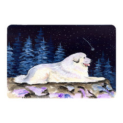 Caroline's Treasures - Starry Night Great Pyrenees Kitchen or Bath Mat 20 x 30 - Kitchen or Bath Comfort Floor Mat This mat is 20 inch by 30 inch. Comfort Mat / Carpet / Rug that is Made and Printed in the USA. A foam cushion is attached to the bottom of the mat for comfort when standing. The mat has been permanently dyed for moderate traffic. Durable and fade resistant. The back of the mat is rubber backed to keep the mat from slipping on a smooth floor. Use pressure and water from garden hose or power washer to clean the mat. Vacuuming only with the hard wood floor setting, as to not pull up the knap of the felt. Avoid soap or cleaner that produces suds when cleaning. It will be difficult to get the suds out of the mat.