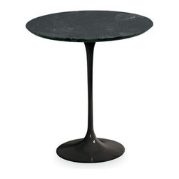 Saarinen End Table - Room & Board - You may know the modern icon tulip table by Eero Saarinen from its most popular form, the dining table, but did you know there is a side table version? Or that it comes in black? This silhouette has had a lot of the sincerest form of flattery throughout its life, imitation, but nothing ever looks nearly as good as the original. Well worth the investment.